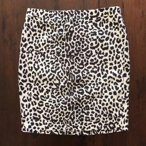 J Crew basketweave leopard pencil skirt